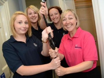 Employees from Battens prepare to take on the Extreme abseil for charity this weekend